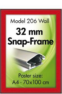 Alu Snap-Frame, væg, 32 mm - rød