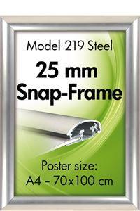 Alu Snap-Frame væg 25 mm stainless steel look