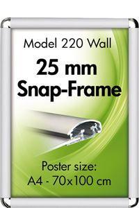 Alu Snap-Frame rondo væg 25 mm sølveloxeret