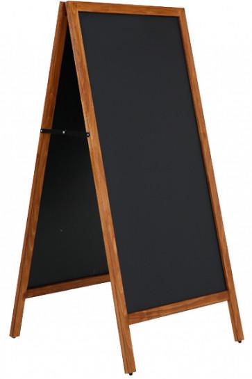 Wooden Pavement Sign with Steel Board 59x119cm - Mørk bejdset bøg