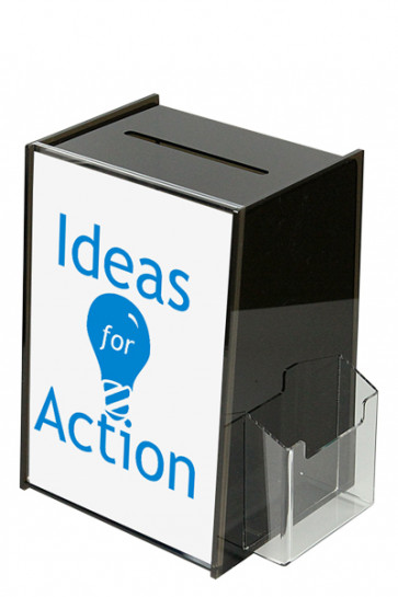 Tip Box Black with Info holder A4 + M65 brochure holder