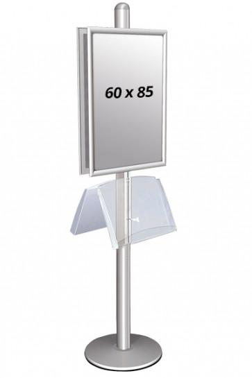 MULTISTAND 2 Dobbeltsidet med stålhylde 25mm 2 x 60x85 cm Alu