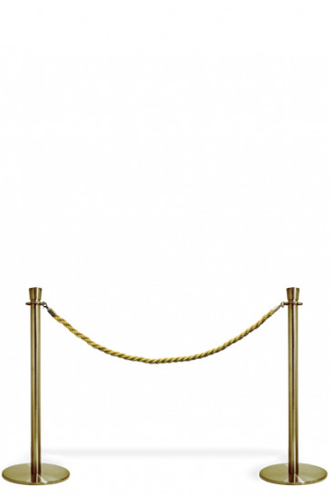 Crowd Control System, 2 poles with gold rope. Gold System
