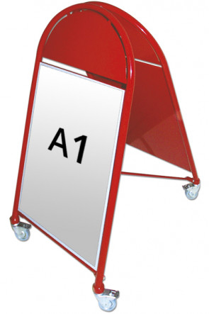 NEW GOTIK LUXUS gadeskilt m/hjul 32mm A1 rød