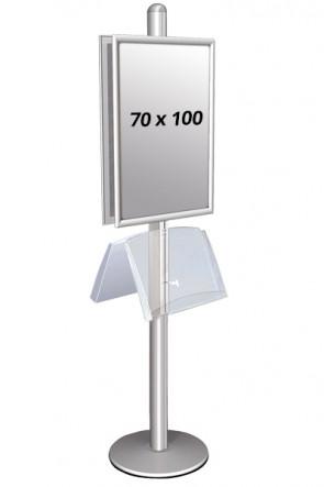 MULTISTAND 2 Dobbeltsidet med stålhylde 25mm 2 x 70x100 cm Alu
