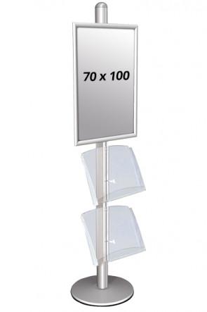 MULTISTAND 3 Enkeltsidet med 2 akrylhylder 25mm 1 x 70 x 100 cm Alu