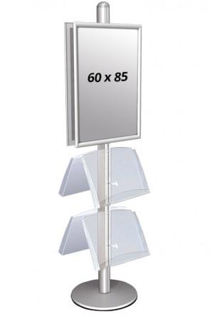 MULTISTAND 4 Dobbeltsidet med 2 akrylhylder 25mm 2 x 60x85 cm Alu