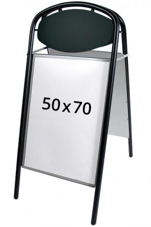 EXPO ELLIPSE gadeskilt m/od 32mm 50x70cm sort