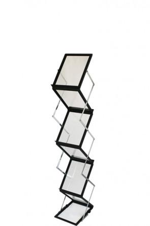 FLEX BROCHURE STAND sort, 6 x A5 m/kuffert