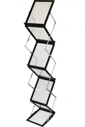 FLEX BROCHURE STAND Sort, 6 x A4 m/kuffert
