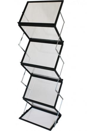 FLEX BROCHURE STAND sort, 6 x A3 m/kuffert